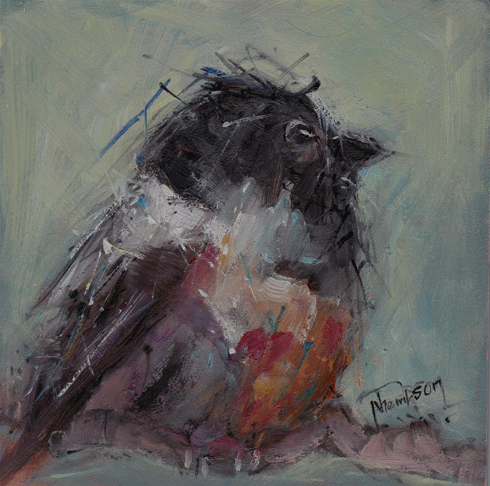 """Black Headed Bird"" original fine art by Norma Thompson"