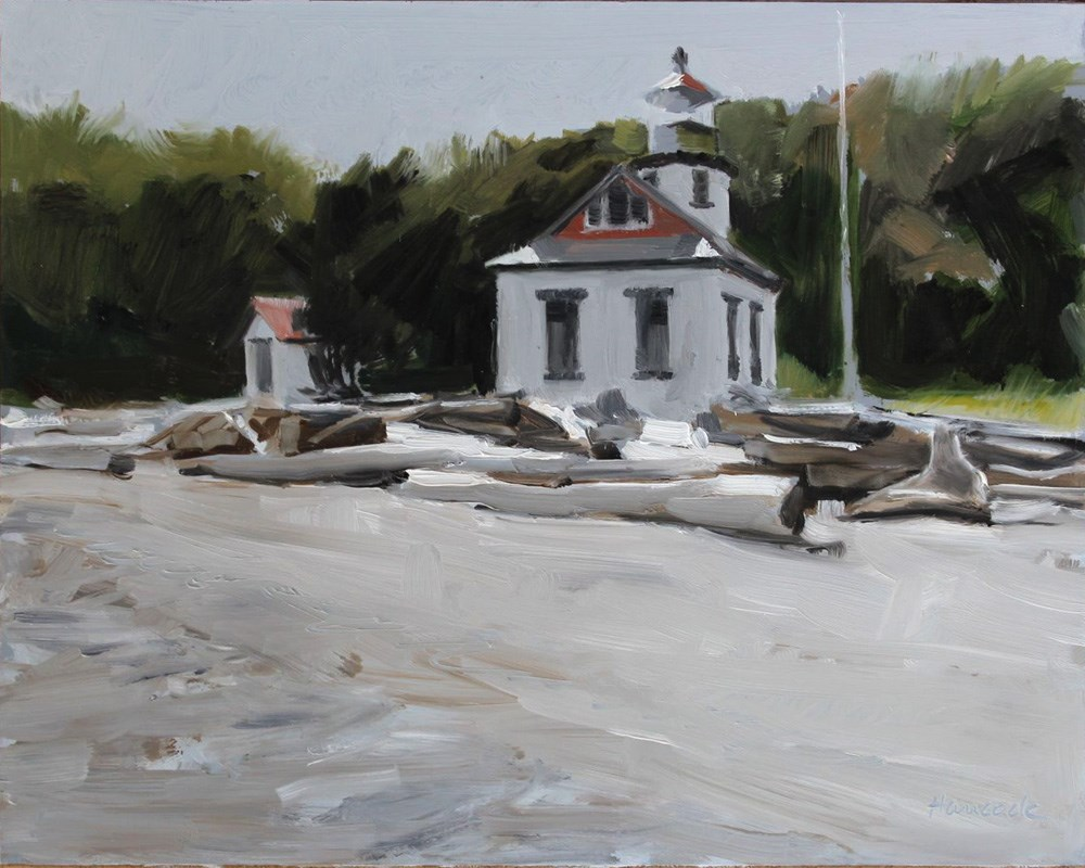 """Lighthouse from the Beach"" original fine art by Gretchen Hancock"
