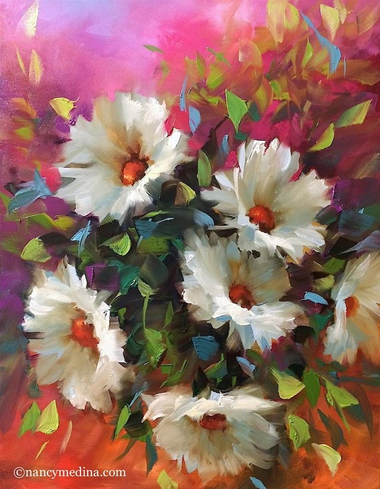 """Pinkberry Daisies - Flower Paintings by Nancy Medina"" original fine art by Nancy Medina"