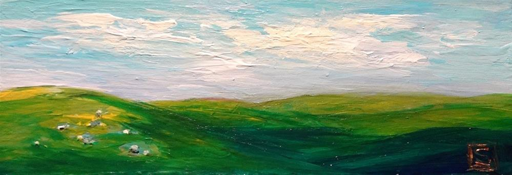 """4147- Dappled Hills - Raw Edge Painting"" original fine art by Sea Dean"