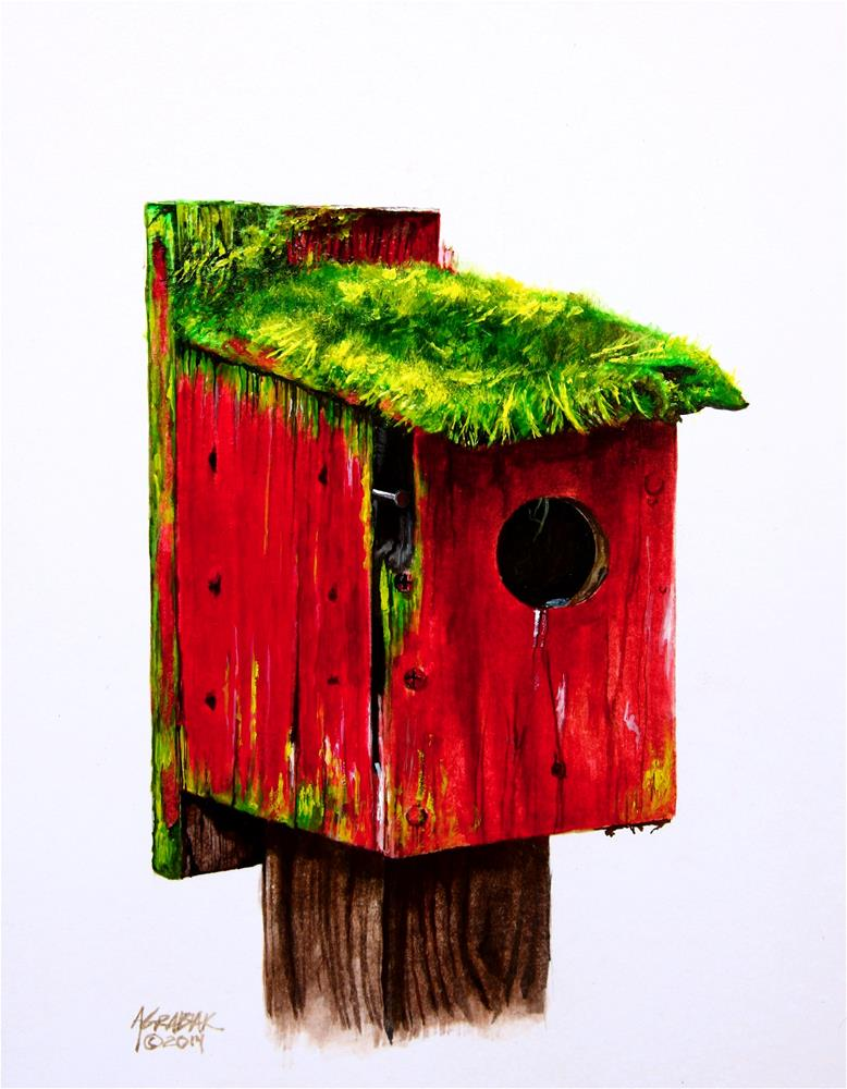 """Red Birdhouse"" original fine art by Aaron Grabiak"