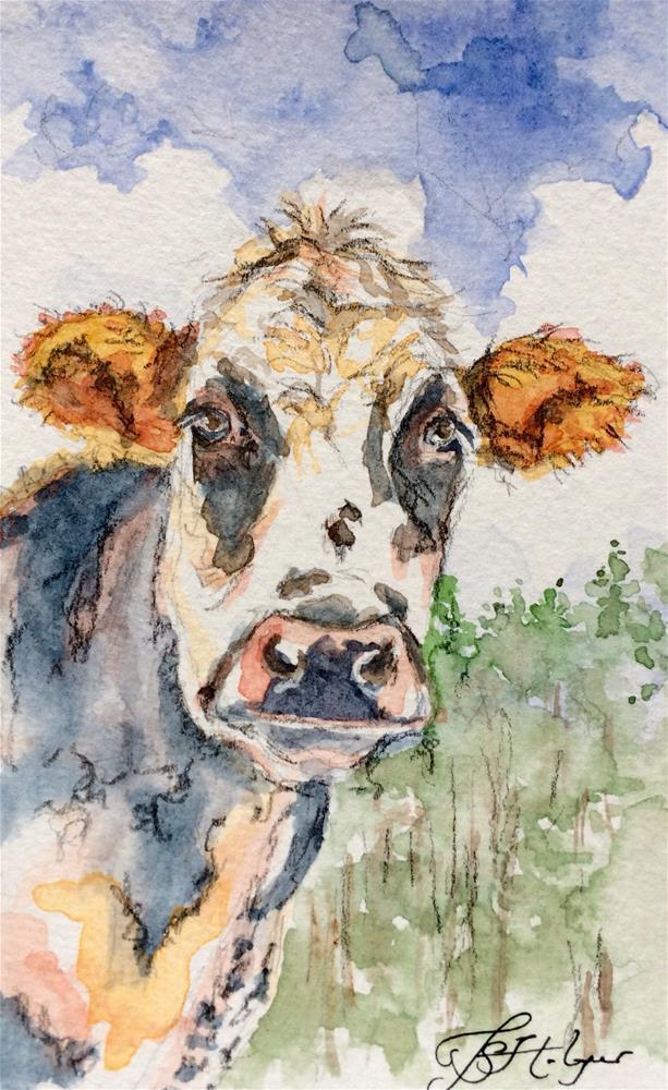 """""""Cow From Below"""" original fine art by Jen Holyer"""
