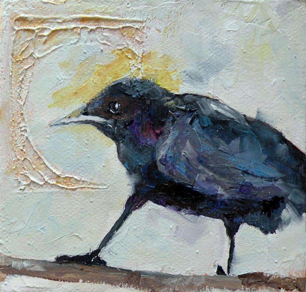 """FACE TO THE SUN - A CROW ORIGINAL OIL ON GALLERY WRAP CANVAS © SAUNDRA LANE GALLOWAY"" original fine art by Saundra Lane Galloway"