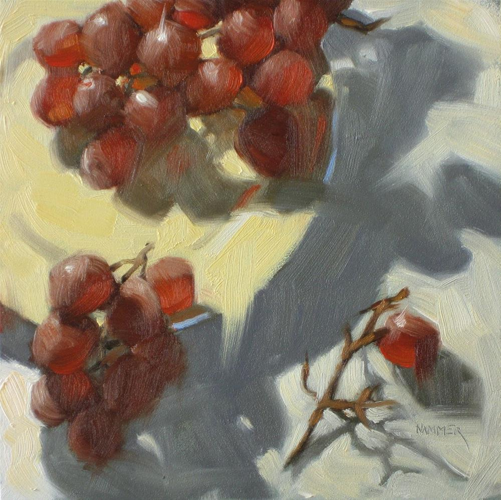 """Missing Grapes 6x6 oil"" original fine art by Claudia Hammer"