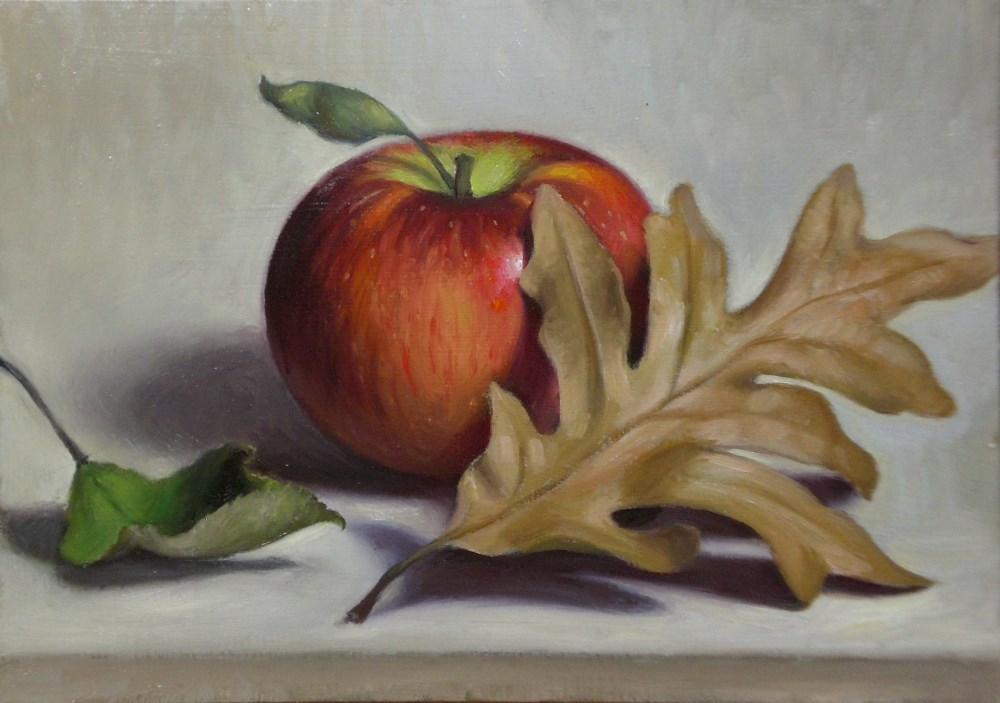 """Oak Leaf and Apple"" original fine art by Debra Becks Cooper"
