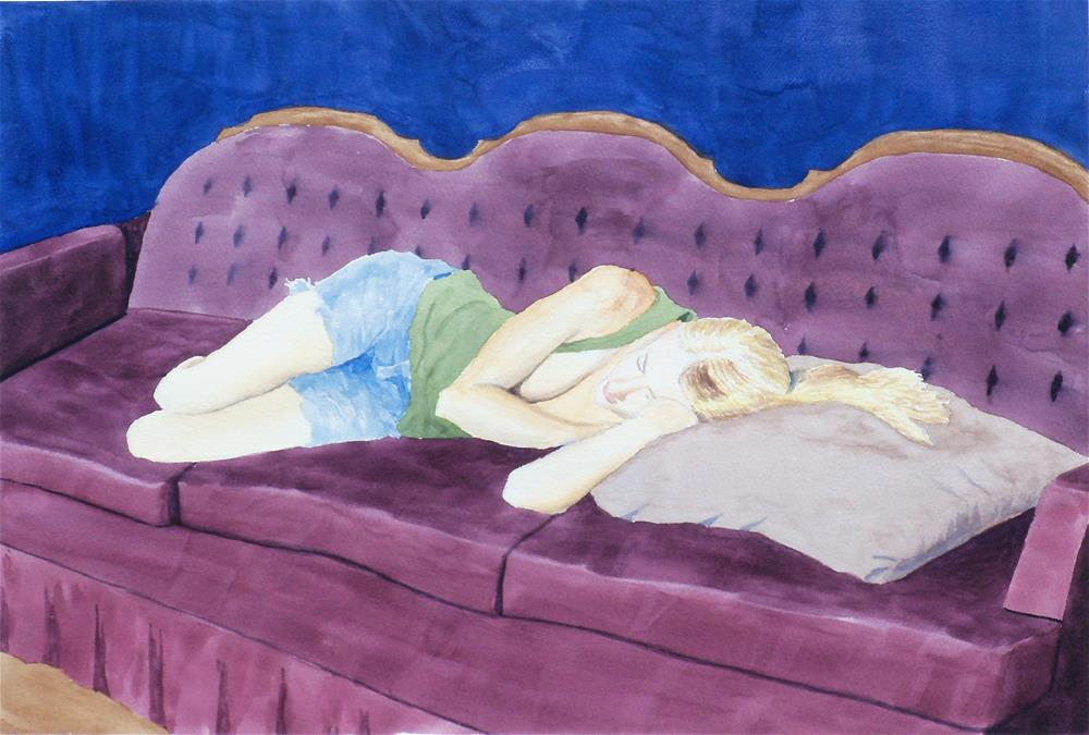 """April on a Couch"" original fine art by Greg Arens"