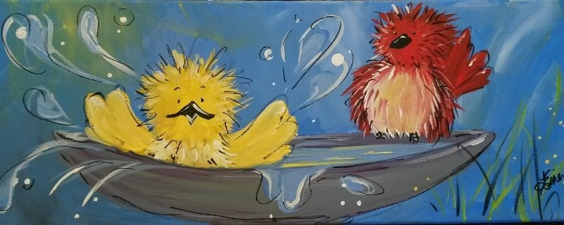 """Birdies III-Day 12 of the 30 Paintings in 30 Days Challenge"" original fine art by Terri Einer"