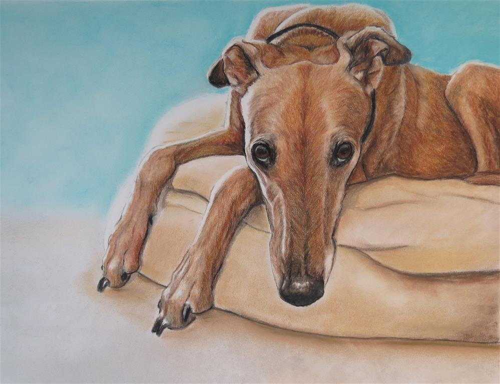 """Greyhound on dog bed"" original fine art by Charlotte Yealey"