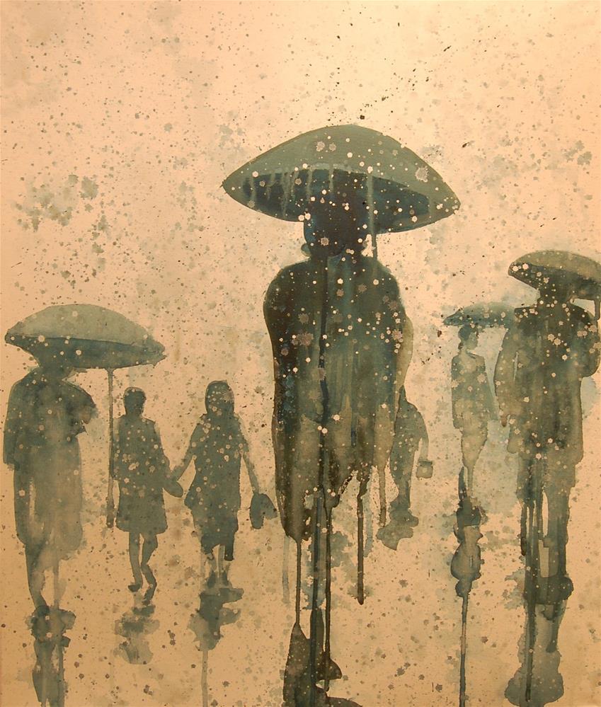 """rain city (people in the rain 2)"" original fine art by michael vigneux"