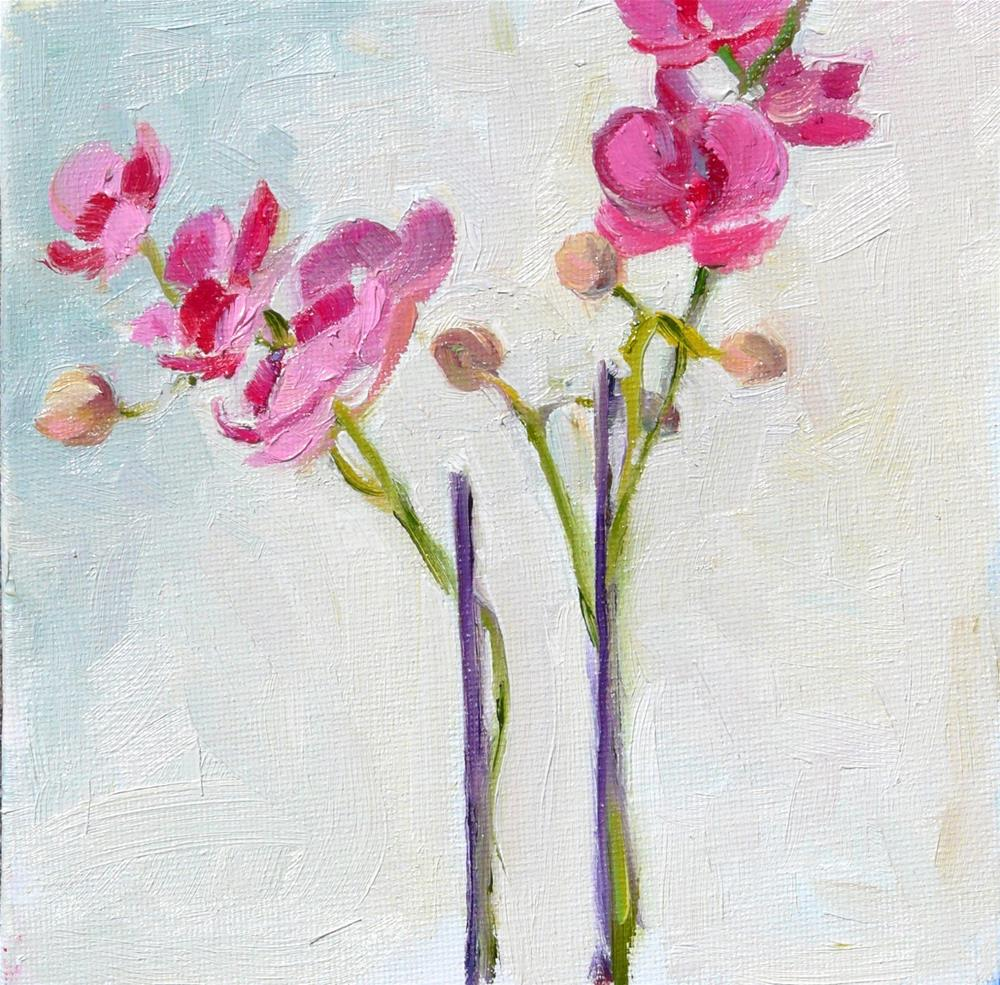 """Orchid Gift,still life,oil on canvas,6x6,price$175"" original fine art by Joy Olney"