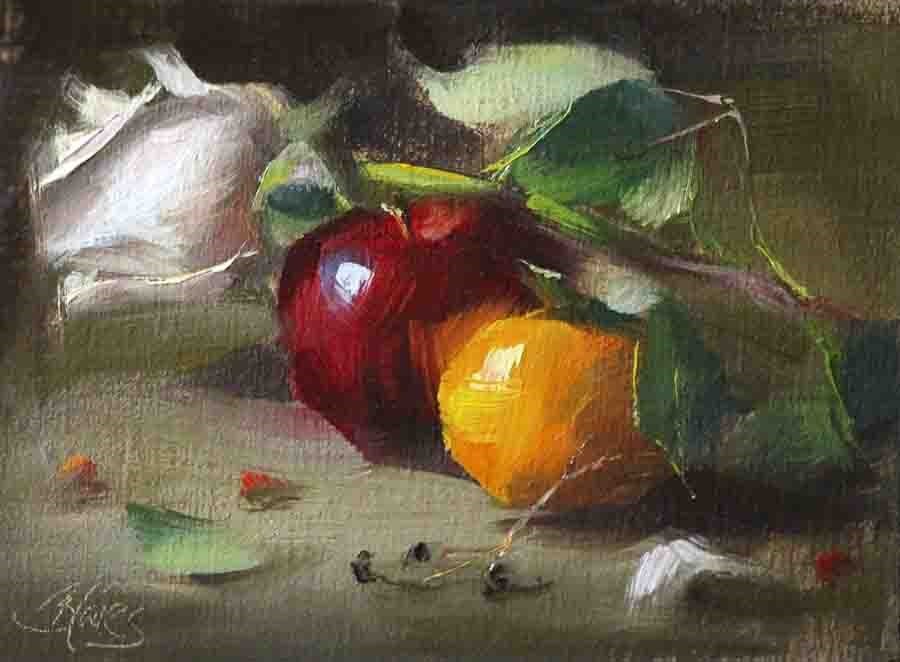 """An Apple, An Orange and One Single Rose"" original fine art by Pamela Blaies"