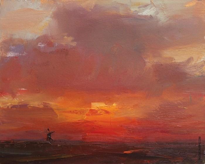 """""""Orange Red Sunrise"""" original fine art by Roos Schuring"""