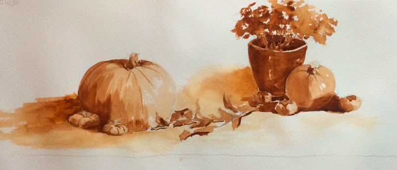 """Pumpkins and Persimmons"" original fine art by Katharine Engh"