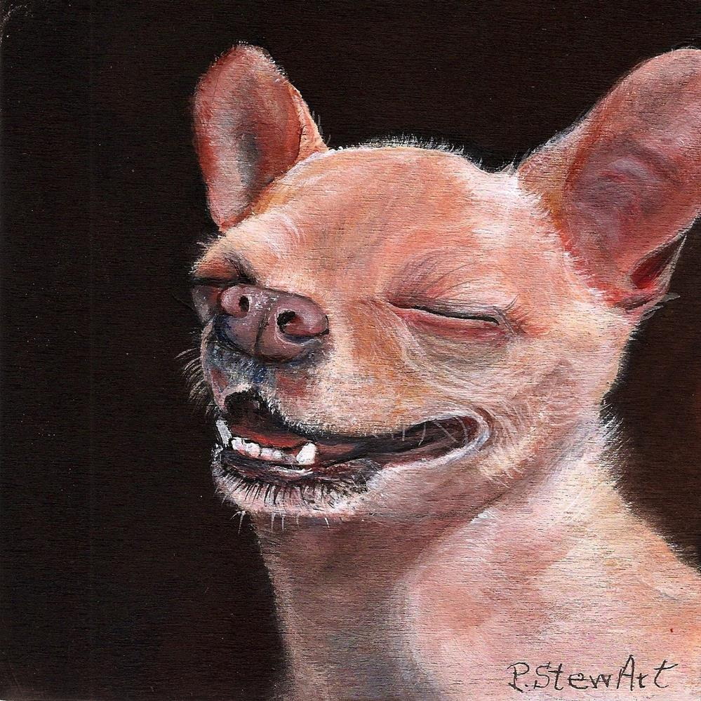"""6x6 Chihuahua Orion Smiling Laughing a Dog Full of Joy SFA Penny StewArt"" original fine art by Penny Lee StewArt"