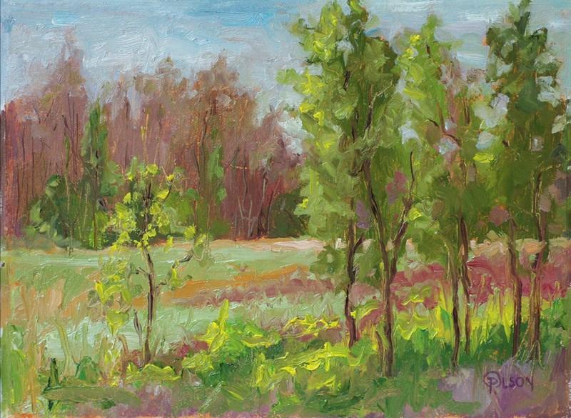 """""""green in fall"""" original fine art by Priscilla Olson"""