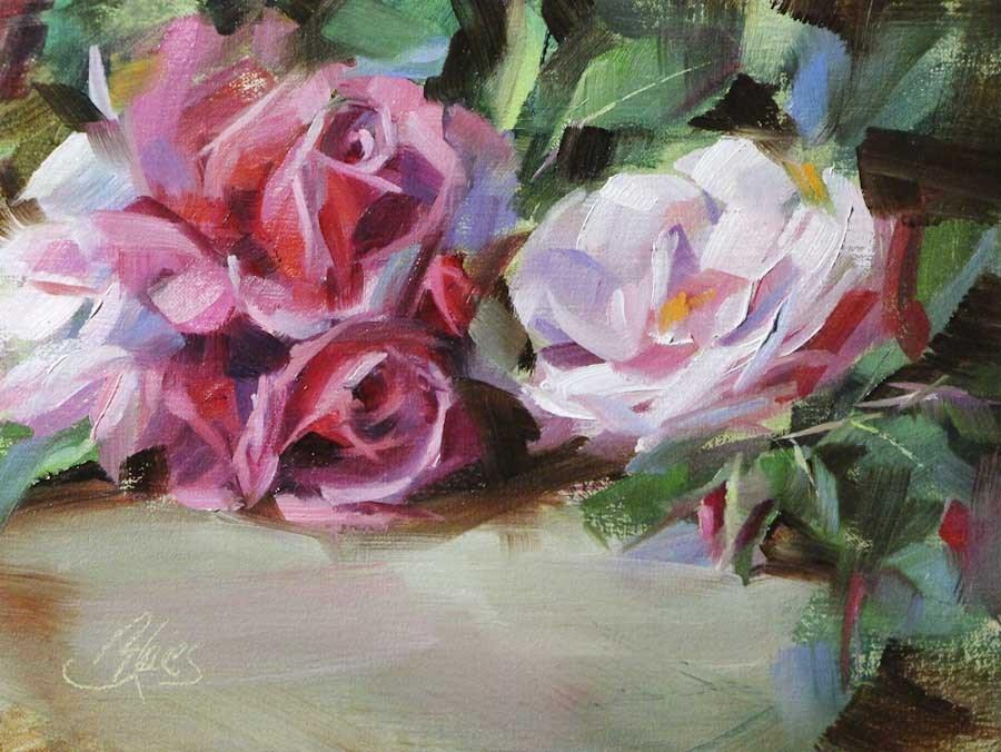 """""""Garden Roses"""" original fine art by Pamela Blaies"""