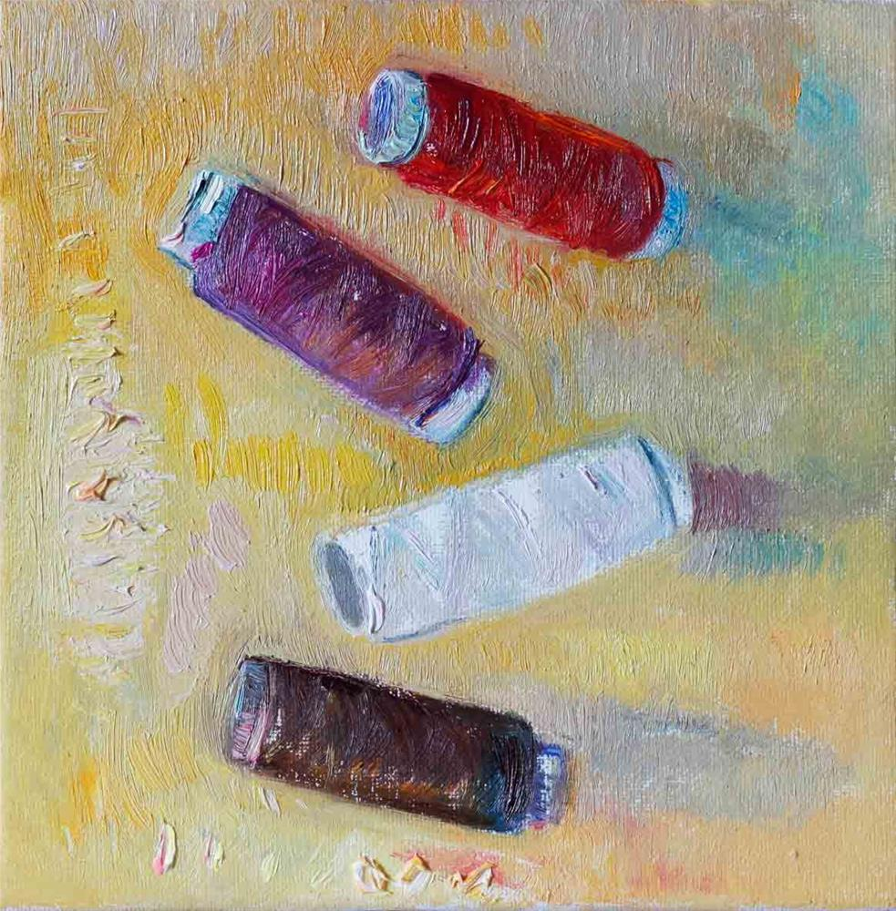 """Four Spools Of Thread On A Yellow Canvas"" original fine art by Anna  Fine Art"