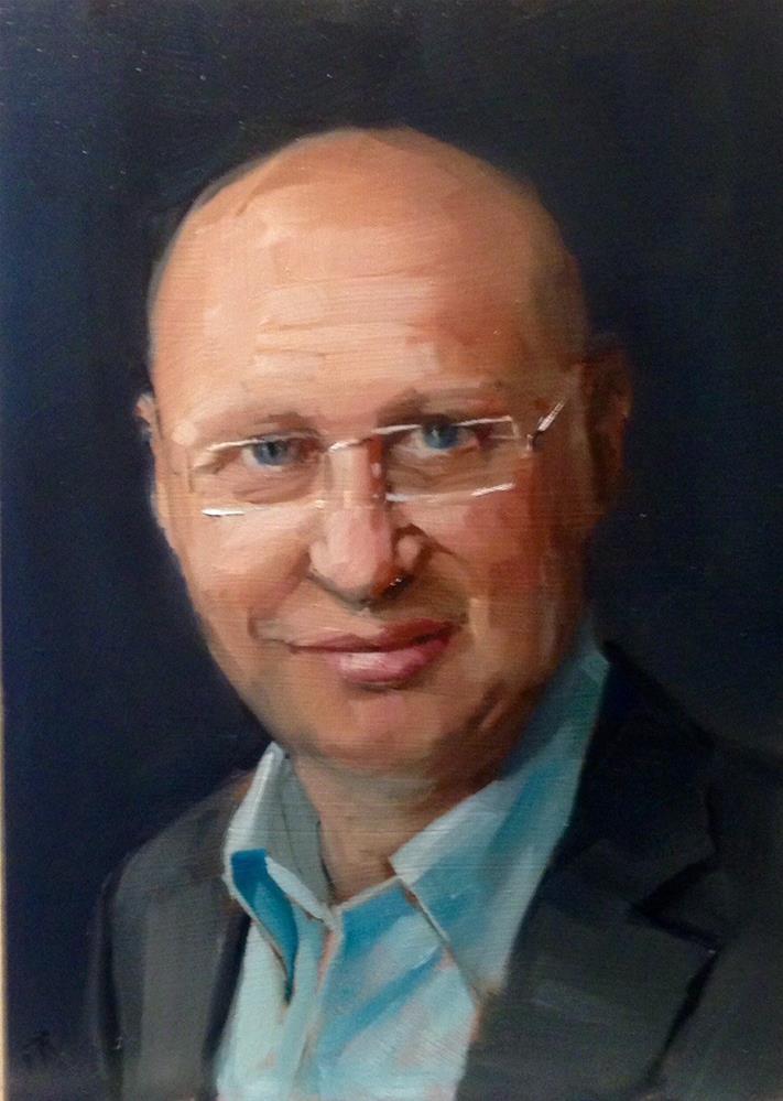 """Stefan Hell, Nobel Prize Chemistry"" original fine art by Thomas Ruckstuhl"