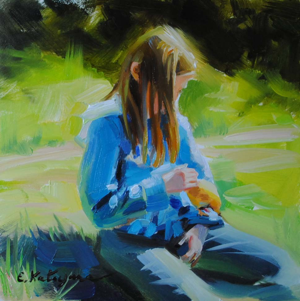 """A Girl With a Chick"" original fine art by Elena Katsyura"