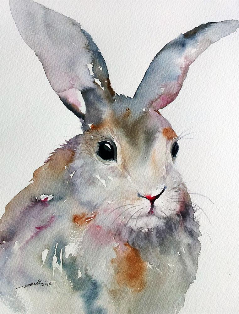 """Gray Rabbit"" original fine art by Arti Chauhan"