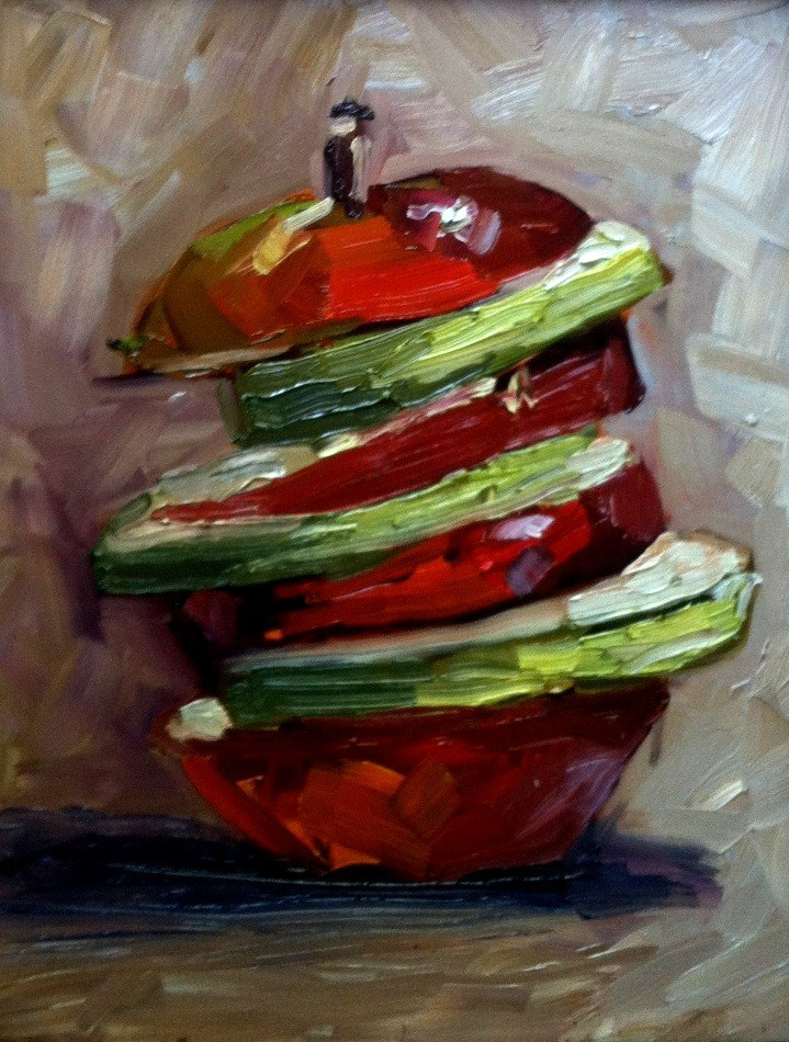 """Apple tower"" original fine art by Kristen Dukat"