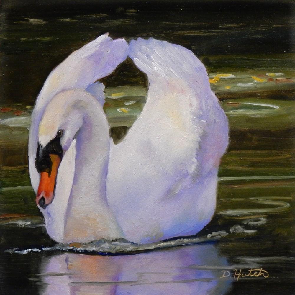 """""""White Swan"""" original fine art by Diane Hutchinson"""