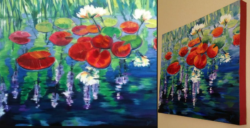 """Crimson Lilies"" original fine art by Dana C"