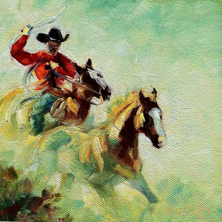 """ROPING THE WIND"" original fine art by Kristy Tracy"