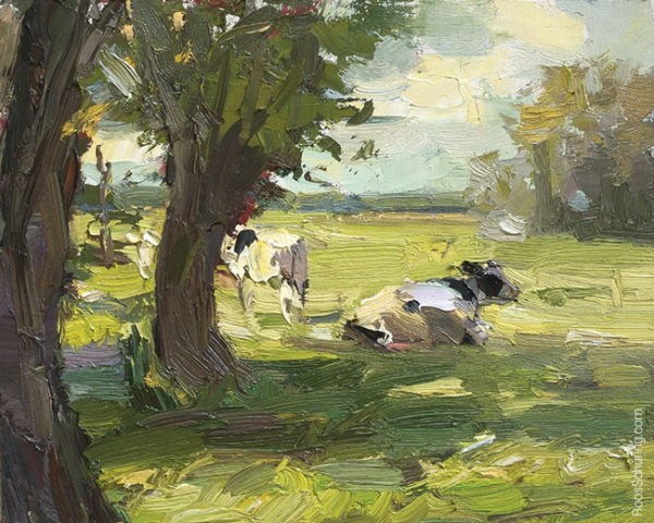 """Cows Lazing in the Sun"" original fine art by Roos Schuring"