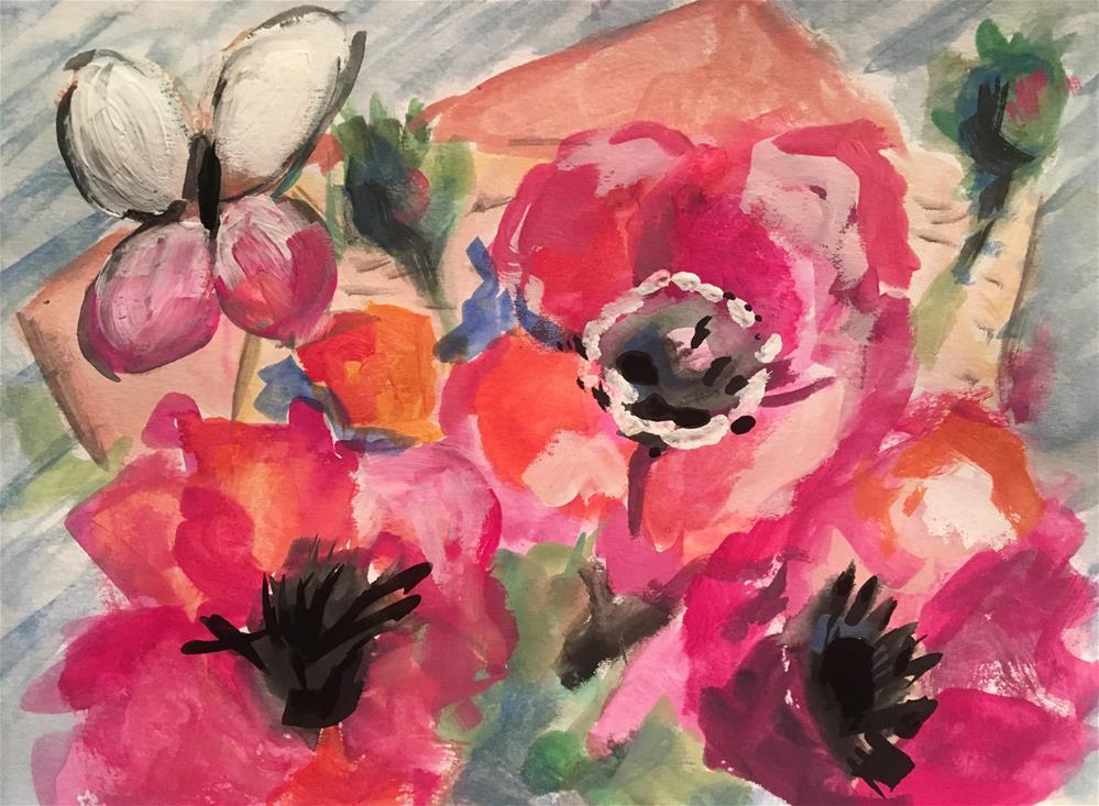 """""""Butterfly among Poppies"""" original fine art by Susan Elizabeth Jones"""