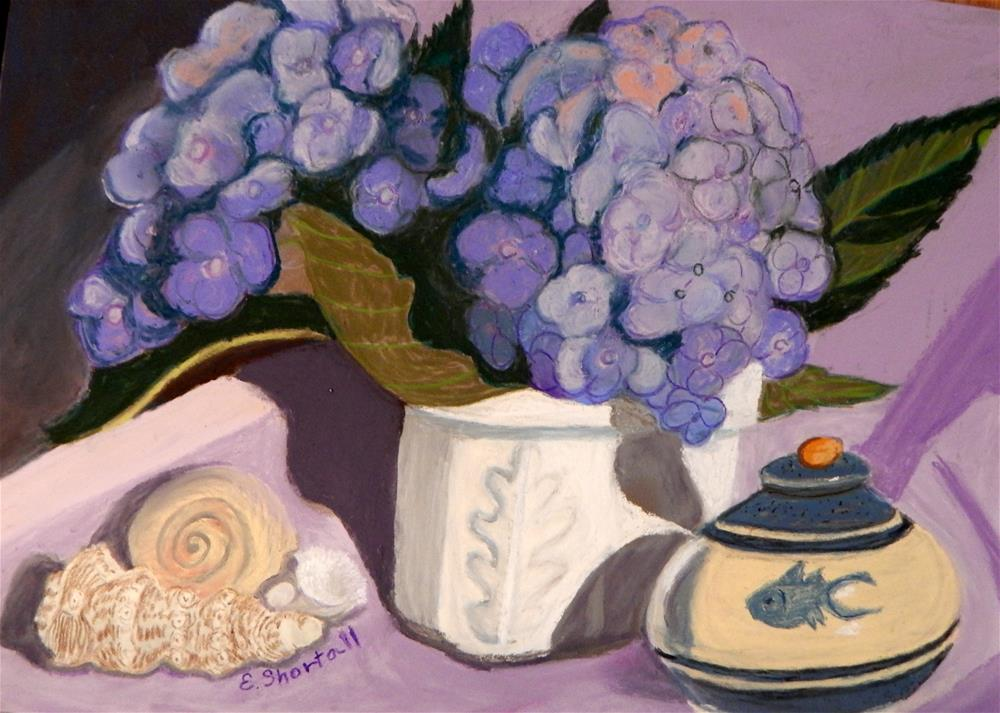 """Still Life with Hydrangeas"" original fine art by Elaine Shortall"