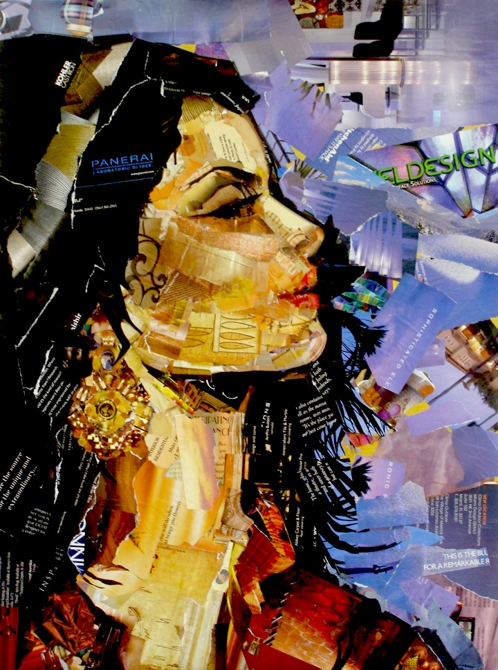 """Esmeralda, Collage on Canvas Board, 24x18"" original fine art by Carmen Beecher"