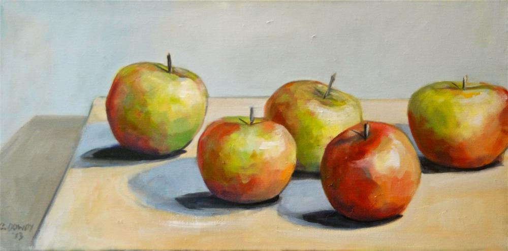 """Modern Still Life of Apples"" original fine art by Christina Dowdy"