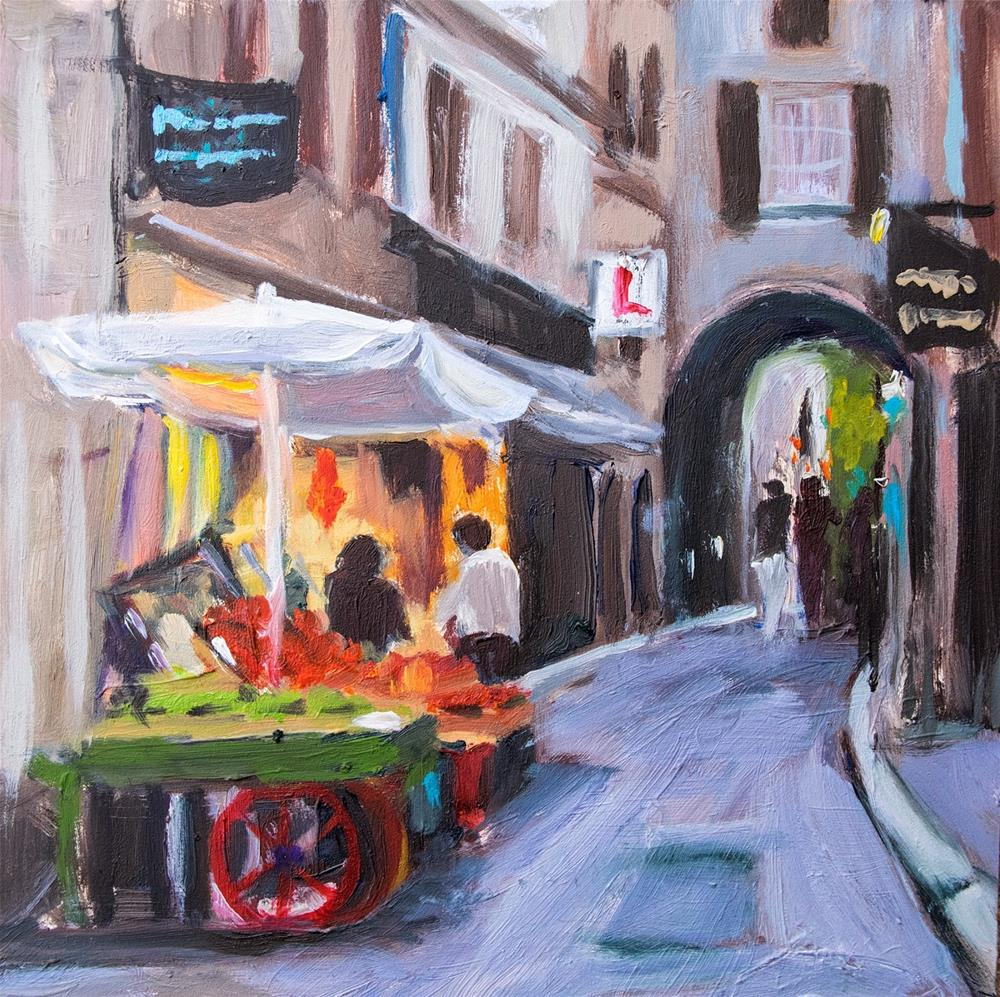 """KMD2996 Night Vendor by Denver Colorado artist Kit Hevron Mahoney (6x6 oil, France, Aix en Provence,"" original fine art by Kit Hevron Mahoney"