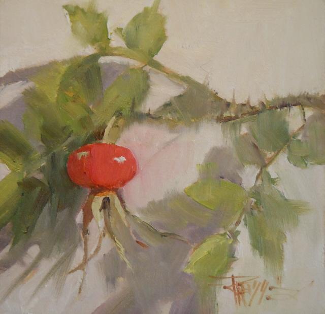 """Rose Hip oil still life painting."" original fine art by Robin Weiss"