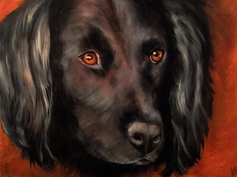 """Portrait of a black dog (2)"" original fine art by Karen Robinson"