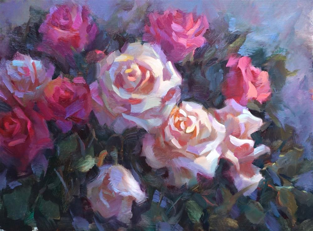 """Pink & White Roses"" original fine art by Carol Myer"