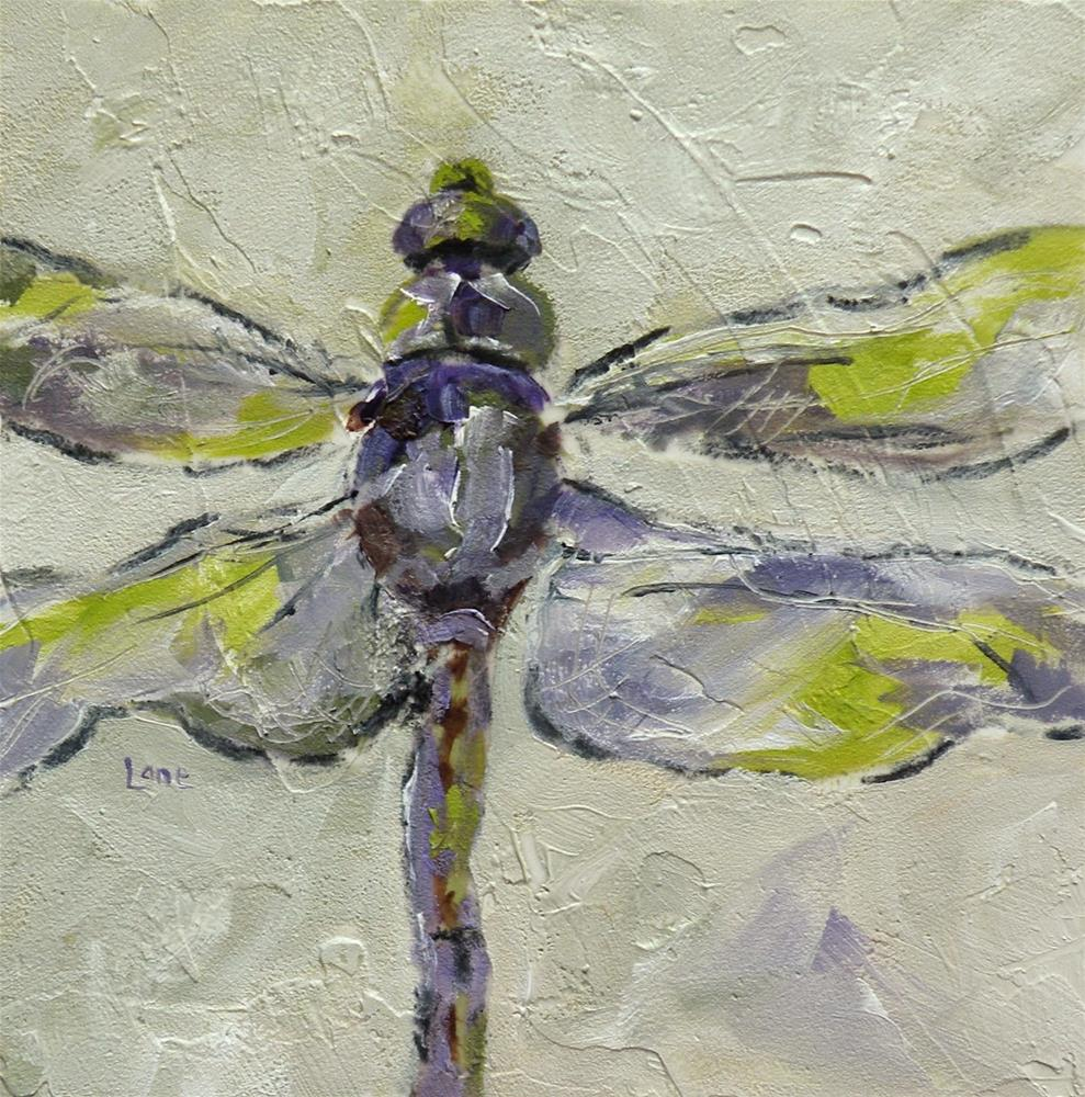 """DRAGONFLY IN PURPLE AND GREEN ORIGINAL OIL ON 4X4 TEXTURED PANEL © SAUNDRA LANE GALLOWAY"" original fine art by Saundra Lane Galloway"