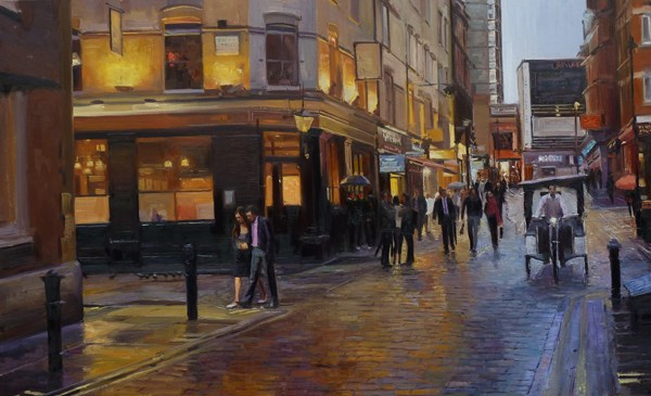 """After the rain, Soho"" original fine art by Adebanji Alade"