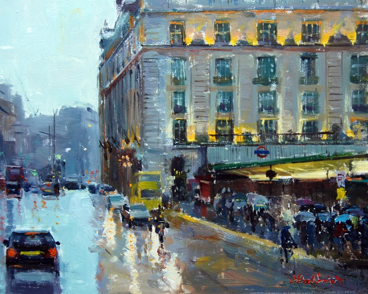 """Drizzly Day Green Park."" original fine art by Adebanji Alade"