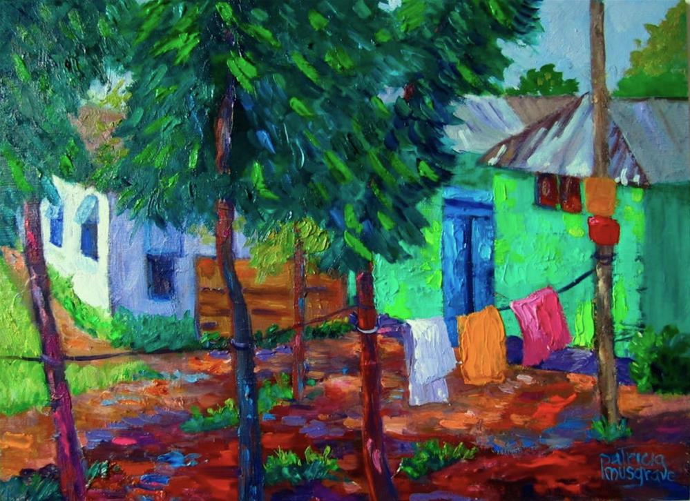 """Green House on Charigram Road, Bangladesh"" original fine art by Patricia Musgrave"