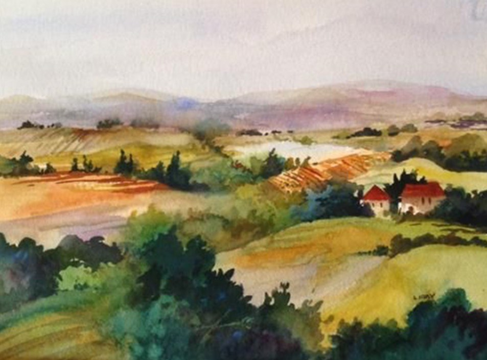 """Tuscan Vista"" original fine art by Libby Anderson"