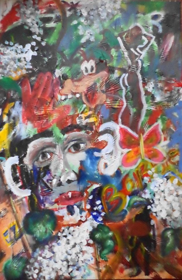 """A Goofy Man and Barbie signed acrylic painting"" original fine art by tara stephanos"