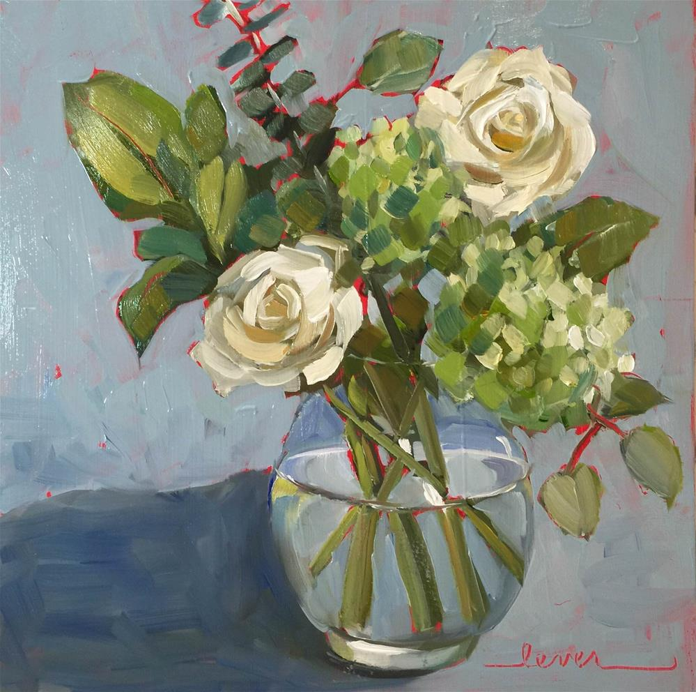 """Two White Roses"" original fine art by Martha Lever"