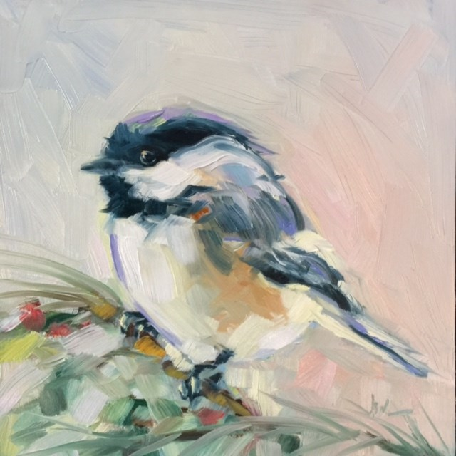 """MY LITTLE CHICKADEE"" original fine art by Mb Warner"