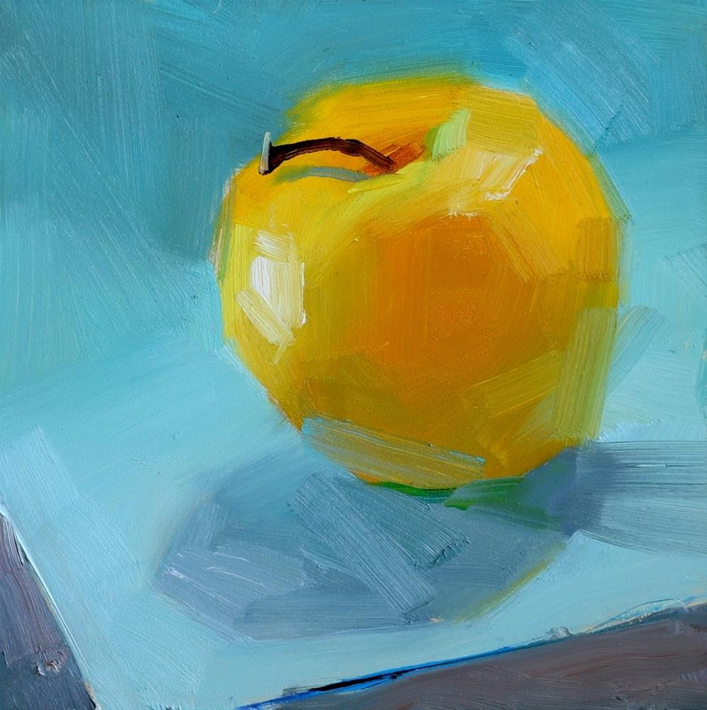 """Gold Apple on Blue"" original fine art by Qiang Huang"