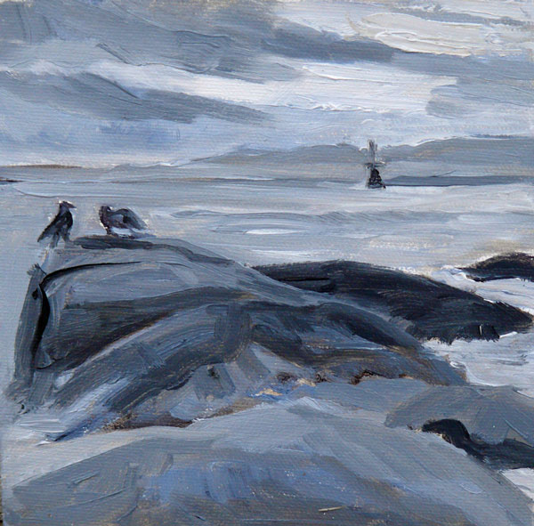 """Out to Sea, oil on canvasboard, 6x6in"" original fine art by Darlene Young"