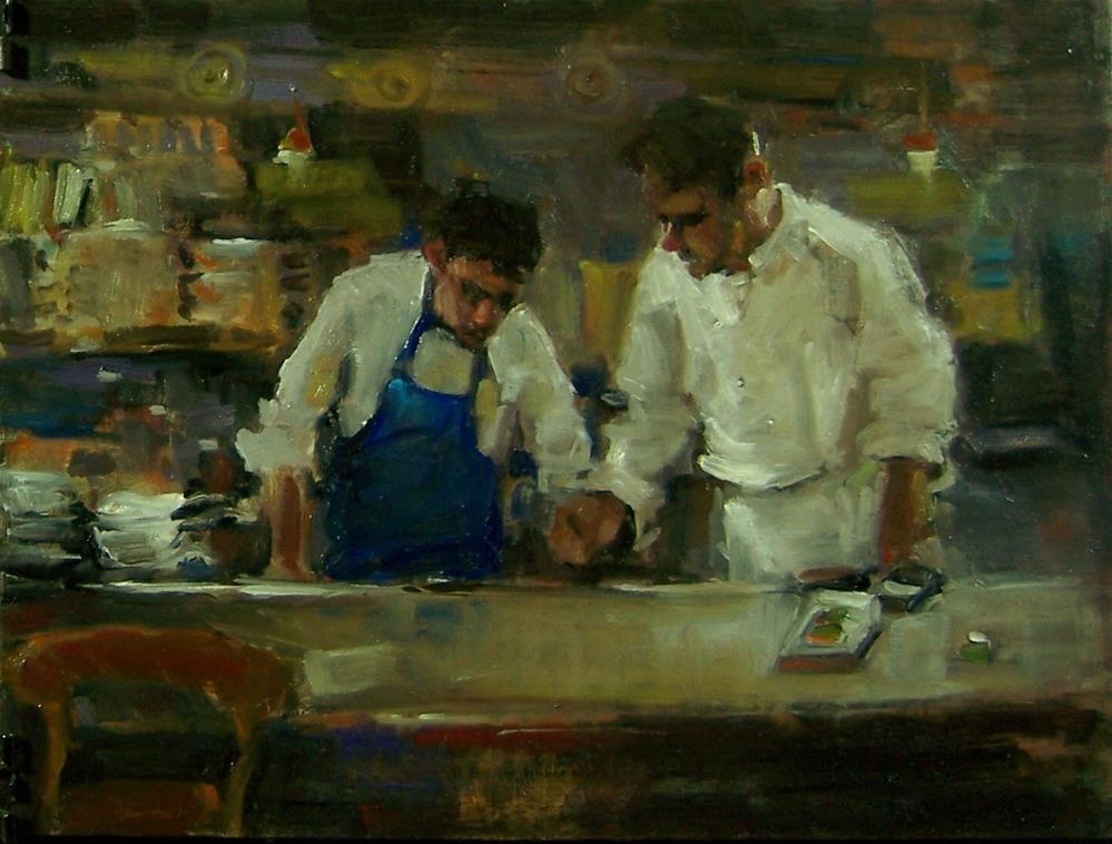 """2 chefs"" original fine art by Kim Roberti"