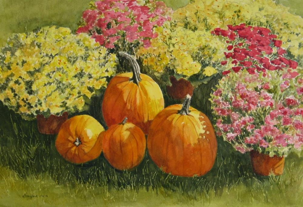 """All About the Pumpkins"" original fine art by Vikki Bouffard"