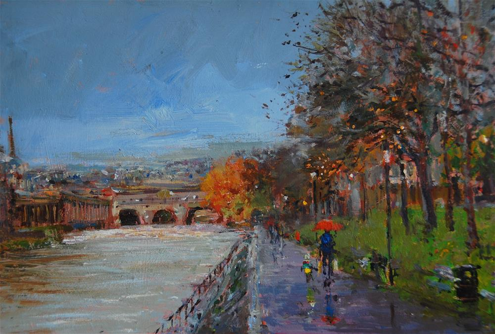 """After The Rain, Pulteney Bridge Bath"" original fine art by Adebanji Alade"